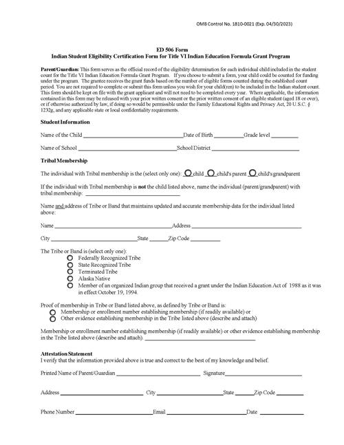 Fill Out the 506 Form
