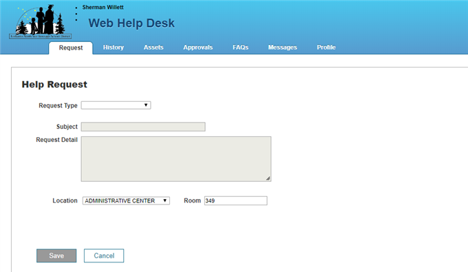Web Help Desk Help Request Page