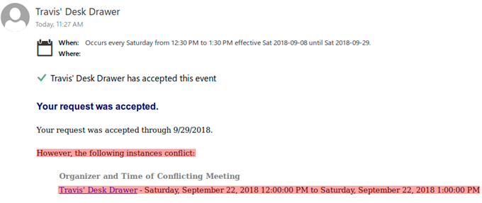 How do I deal with conference room conflicts in a recurring