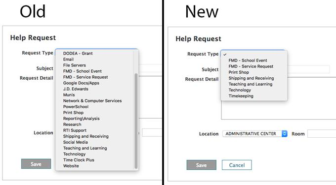 Old vs New Web Help Desk request types.