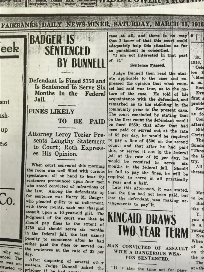 Badger is Sentenced by Bunnell (March 11, 1916)