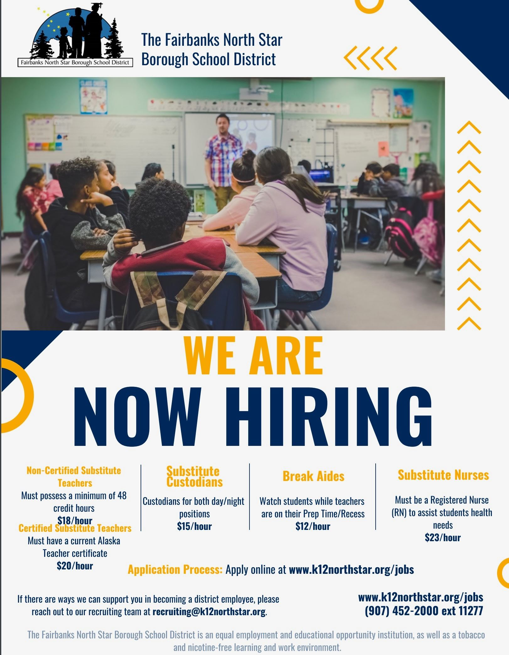 Need employment?        The district is hiring! (We also NEED substitutes!)            Click here for more information!