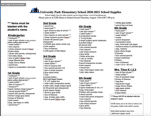 20-21 UPK School Supply List
