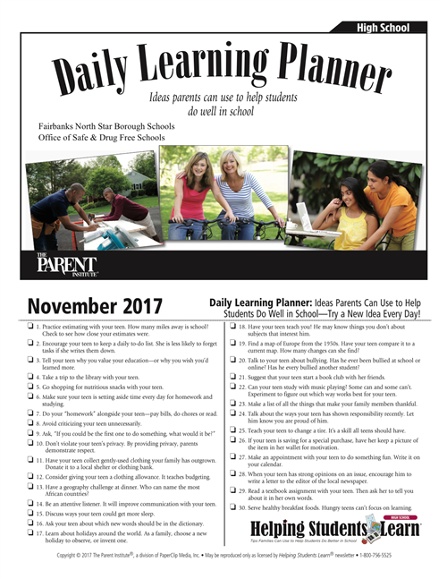 Daily Learning Planner: Ideas parents can use to help students do well in school