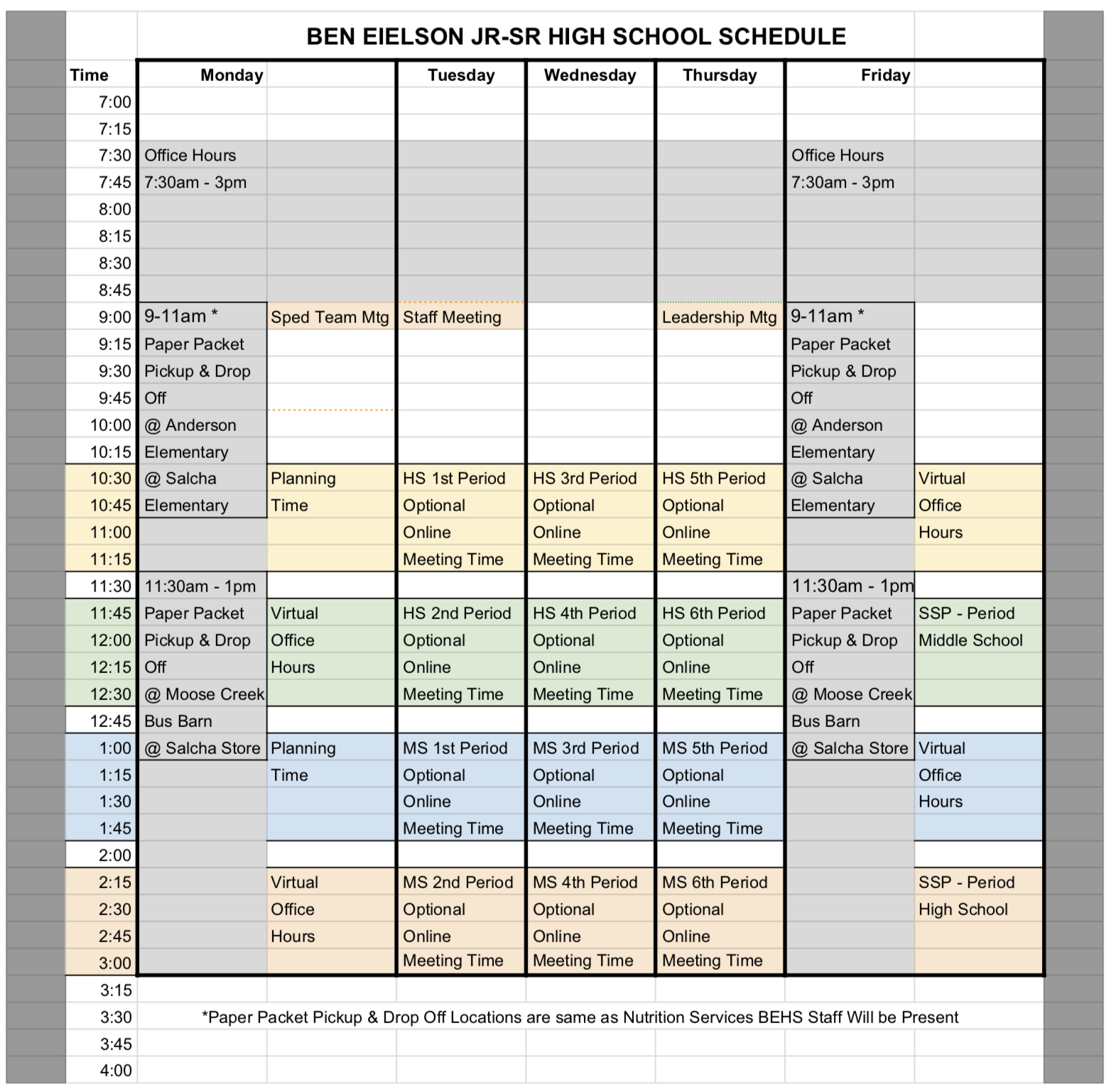 closure schedule
