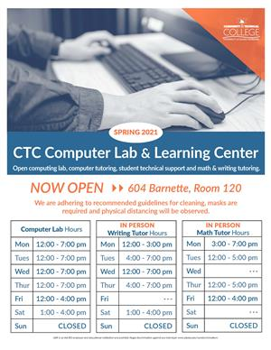 CTC Computer Lab & Learning Center Schedule