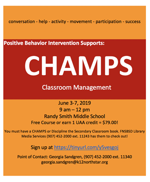 CHAMPS Course Available! Class Dates: September 4th - November 11, 2018