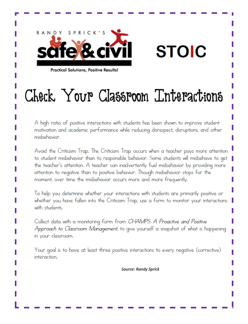 Check Your Classroom Interactions