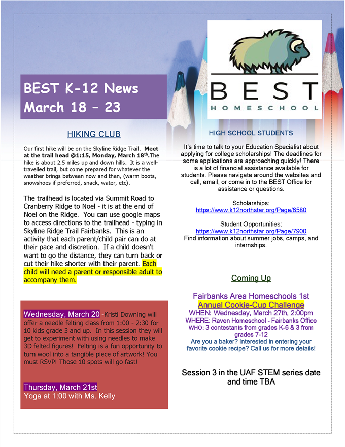 March 18 Weekly News