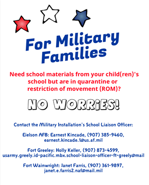 For Military Families in quarantine/restriction of movement